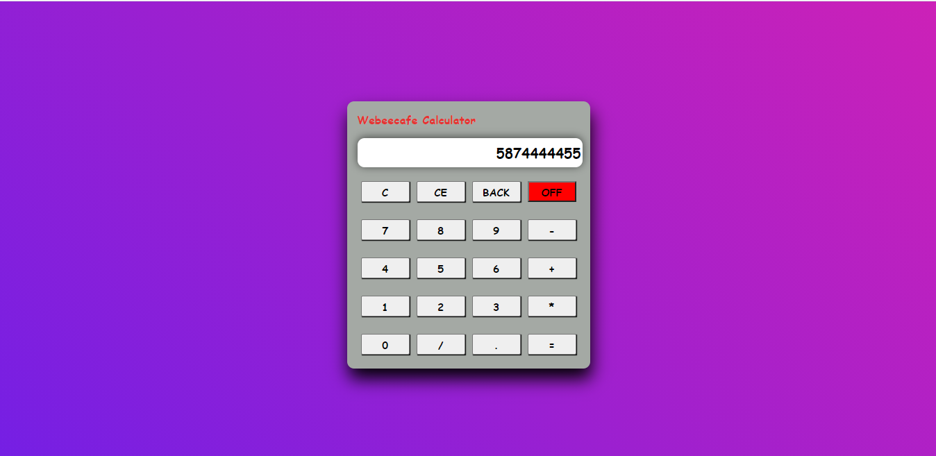 Simple jquery calculator using HTML, CSS and Jquery